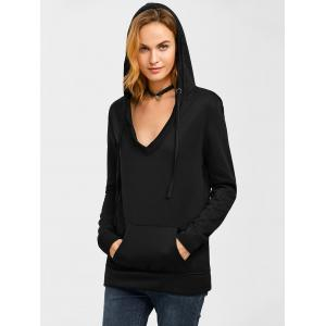 Big Pocket V Neck Drawstring Hoodie -
