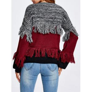 Warm Color Block Fringed Sweater -