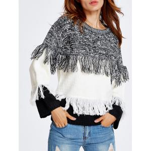 Warm Color Block Fringed Sweater