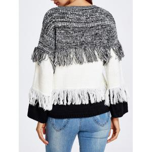 Warm Color Block Fringed Sweater - WHITE ONE SIZE