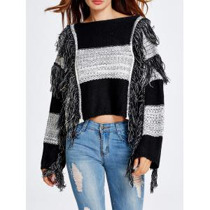 Warm Striped Fringed Cropped Sweater