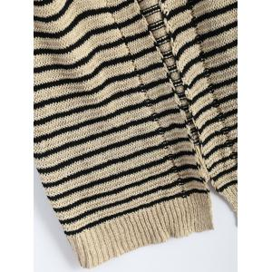 Cable Knit Striped Infinite Cardigan -