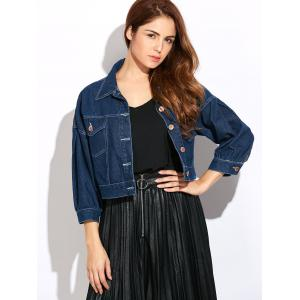 Double Front Pockets Crop Thin Jean Jacket - DEEP BLUE 2XL