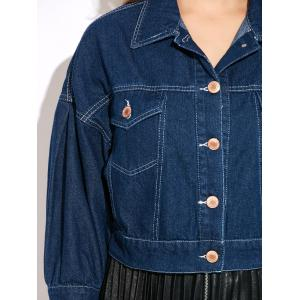 Double Front Pockets Crop Thin Jean Jacket -