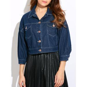 Double Front Pockets Crop Thin Jean Jacket - Deep Blue - S
