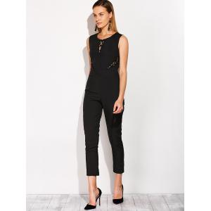 Fitted Lace Insert Sleeveless Jumpsuit -