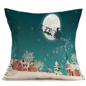 Linen Cushion Peaceful Night Christmas Pillow Cover