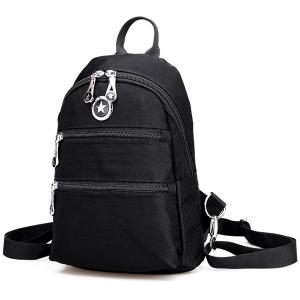 Zip Nylon Metal Backpack -