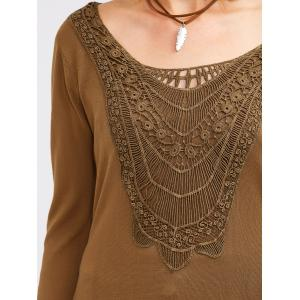 Crochet Tunic T-Shirt - CAMEL XL