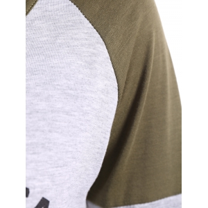 Graphic Raglan Sleeves T-Shirt - GRAY XL