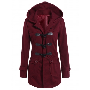 Hooded Flap Pockets Duffle Coat - Wine Red - S