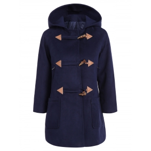 Hooded Duffle Woolen Coat - Purplish Blue - M