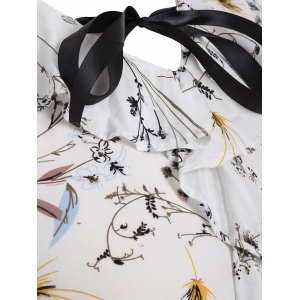 Bell Sleeves Blossom Print Pussy Bow Blouse - WHITE XL