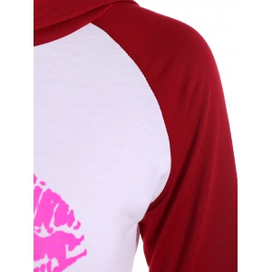 Pullover Lip Graphic Raglan Sleeves Hoodie - TUTTI FRUTTI XL