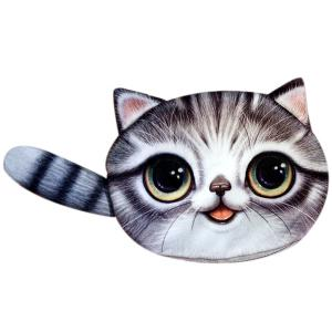 Colour Splicing Cat Shape Zipper Coin Purse - Gray