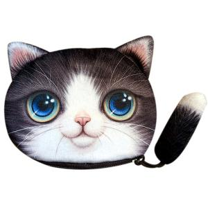 Colour Splicing Cat Shape Zipper Coin Purse - Black