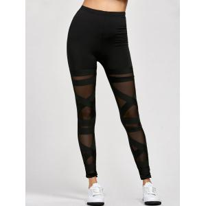 Mesh Panel Leggings - Black - One Size