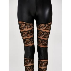 Lace Insert PU Leather Leggings - BLACK ONE SIZE