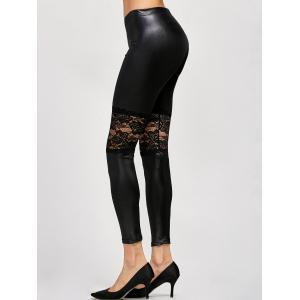 Lace Panel Leather Leggings -