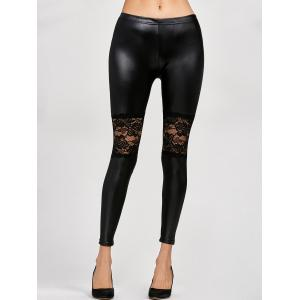 Lace Panel Leather Leggings - Black - One Size