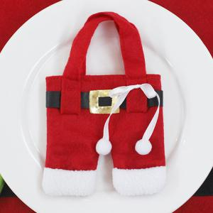 Christmas Table Decor Santa Pants Tableware Holder Bag