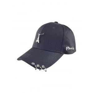 Casual Iron Circle Hip Hop Baseball Hat - Black