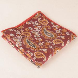 Retro Cashew Floral Print Pocket Square and Cravat - CLARET
