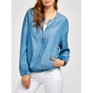Zippered Long Sleeve Spring Denim Jacket
