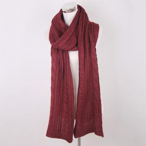 Winter Oversized Twisted Knitted Scarf - Wine Red