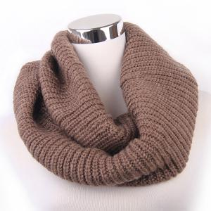 Winter Loose Turtleneck Knitted Twisted Infinity Scarf - Cappuccino