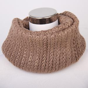 Winter Twisted Turtleneck Knitted Infinity Scarf - Dark Khaki