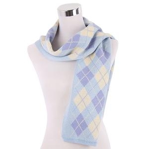 Warm Checked Knitted Scarf - LIGHT BLUE