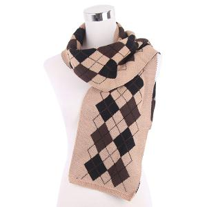 Warm Checked Knitted Scarf - Beige
