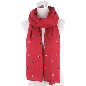 Hollow Ring Rivet Knitted Scarf - Claret