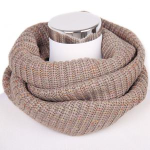 Winter Color Mixed Turtleneck Twisted Loop Knitted Infinity Scarf - Light Khaki