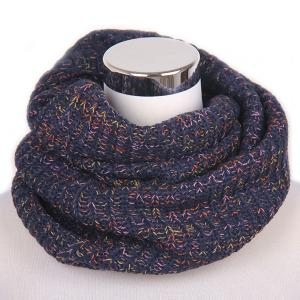 Winter Color Mixed Turtleneck Twisted Loop Knitted Infinity Scarf - Purplish Blue