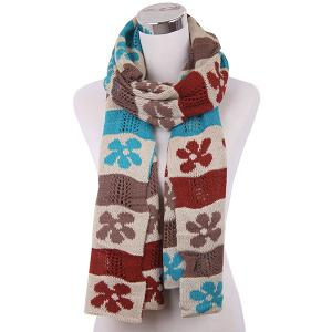 Color Block Flower Oblong Knitted Scarf - Light Khaki - L