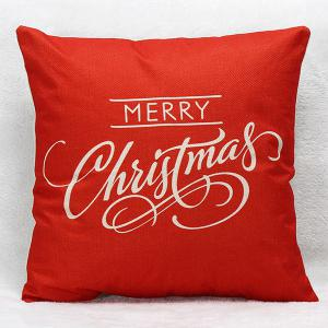 Merry Christmas Letters Pillow Case - Red