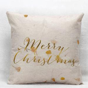 Merry Christmas Flower Letters  Pillow Case