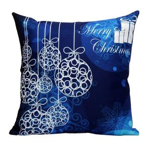 Merry Christmas Printed Pillow Case - Deep Blue