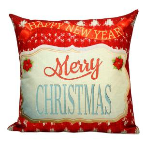Merry Christmas Floral Printed Pillow Case