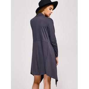 Collarless Asymmetric Duster Coat - DEEP GRAY XL