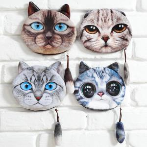 Couleur Spliced ​​Cat Motif Zip Porte-monnaie -
