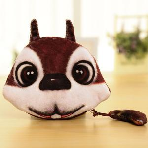 Colour Splicing Animal Pattern Zipper Coin Purse - White And Brown - S