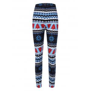 Christmas Pine Tree Print Leggings - Blue - One Size