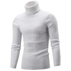 Slim Fit Cable Knit Turtleneck Sweater - White - Xl