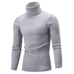 Slim Fit Cable Knit Turtleneck Sweater - Gray - M