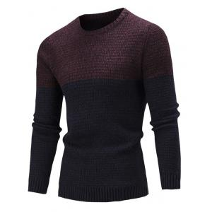 Crew Neck Color Block Textured Sweater