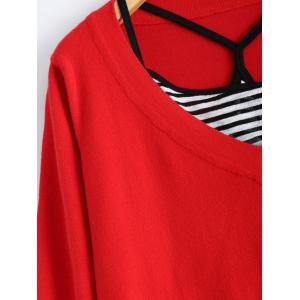 Casual Striped Crop Cami Top and Knit Dress - RED ONE SIZE