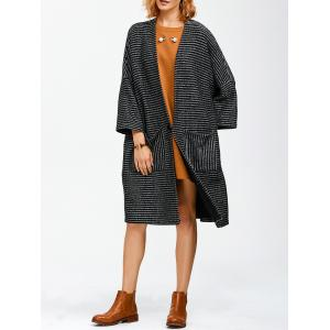 Striped Pocket Loose Coat